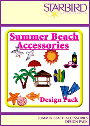 Summer Beach Accessories Design Pack embroidery design Collection