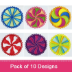 FSL Swirl Candy Coasters embroidery design pack