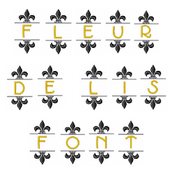 Fleur De Lis Font and Monogram embroidery font