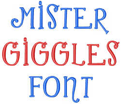 Mister Giggles embroidery font