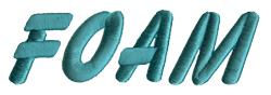 Foam embroidery font