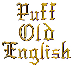 Puff Old English embroidery font