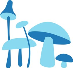 Blue Mushrooms print art design
