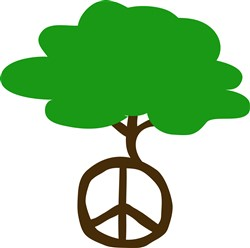 Tree Peace Symbol print art design