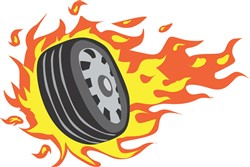 Flaming Auto Tire print art design