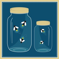 Fireflies Mason Jar print art design