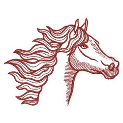 Redwork Mustang embroidery design