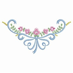 Floral Ribbons Neckline embroidery design