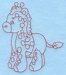 Baby Giraffe Redwork embroidery design