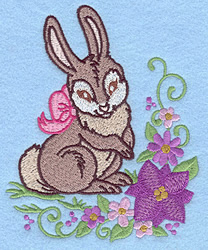 Bunny Bow & Flowers embroidery design