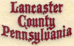 Lancaster Pennsylvania embroidery design
