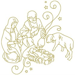 Nativity Scene embroidery design