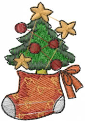 Tree In Stocking embroidery design