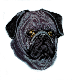 Black Pug embroidery design