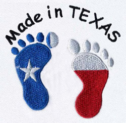Texas Baby Footprints embroidery design