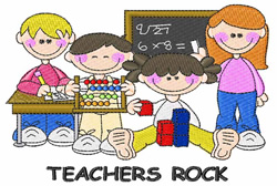 Teachers Rock embroidery design