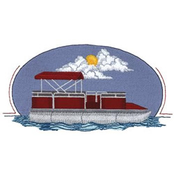 Pontoon Boat embroidery design