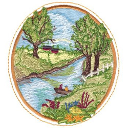 River Scene embroidery design