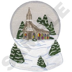 Embroidery design church snow globe 6 54 inches h x 4 98 inches w