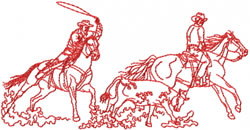 Team roper embroidery design