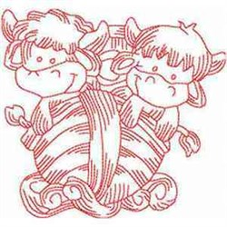 Redwork Noahs Cows embroidery design