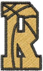 Basketball Letter R embroidery design
