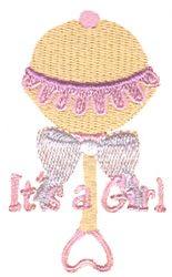 Baby Girl Rattle embroidery design