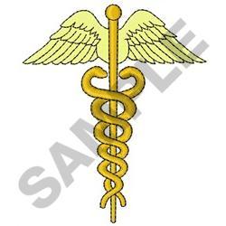 Medical Caduceus Embroidery Design