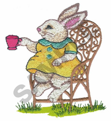 BUNNY ON CHAIR embroidery design