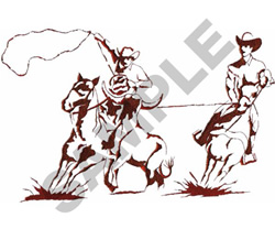 TEAM ROPING SILHOUETTE embroidery design