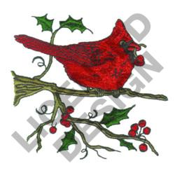 CARDINAL WITH BERRIES embroidery design