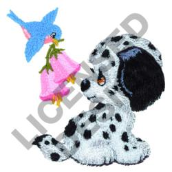 BIRD AND PUPPY embroidery design
