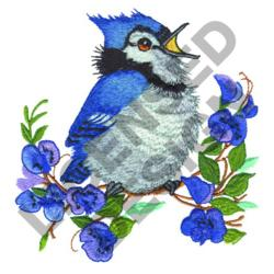 BLUE JAY ON TREE embroidery design