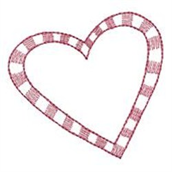 Checkered Heart Redwork embroidery design