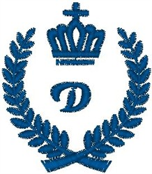 Royal D Crest embroidery design