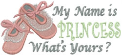 My Name is Princess embroidery design