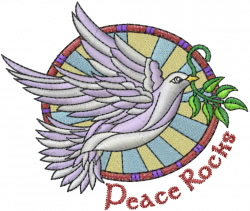 Peace Rocks embroidery design