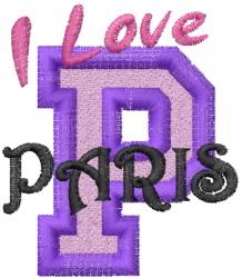 Love Paris France embroidery design