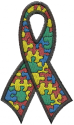 Autism Ribbon embroidery design