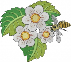 Flower Bee embroidery design