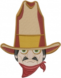 Cowboy Gunman Head embroidery design