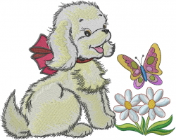 Puppy Dog And Butterfly embroidery design