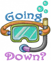 Scuba Mask Going Down embroidery design