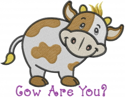 Cow are You embroidery design