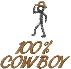 100% COWBOY embroidery design
