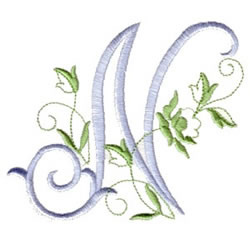 n alphabet design  rose script n embroidery