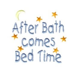 Bed Time After Bath embroidery design