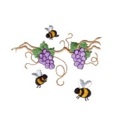 Grape Vine Bees embroidery design