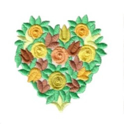 Bullion floral heart embroidery design