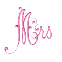 Heirloom Lettering Mrs embroidery design